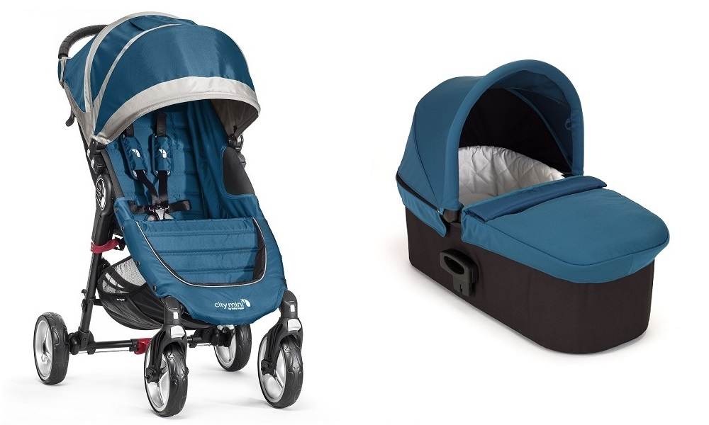 .Duo Baby Jogger City Mini 4 y Capazo Deluxe turquesa turquesa/gris