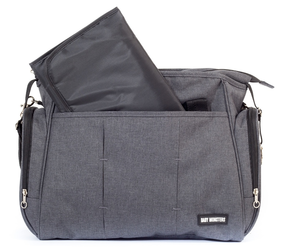 Bolso maternal gris antracita de Baby Monsters