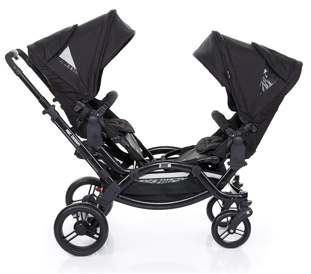 Coche gemelar zoom black 2016 de abc design a pasear for Cochecitos de bebe maclaren