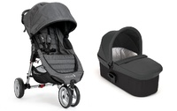 .Duo Baby Jogger City Mini 3  y Capazo Deluxe Denim + barra delantera