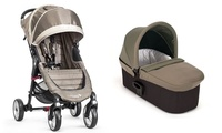.Duo Baby Jogger City Mini 4  y Capazo Deluxe color arena