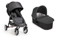 Duo Baby Jogger City Mini 4  y Capazo Deluxe Denim + barra delantera